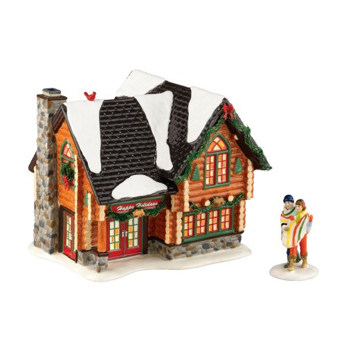 Department 56 2011 Annual Holiday Set with Accessory The Original Snow Village Winter Retreat ( 1 House and 2 People Set)