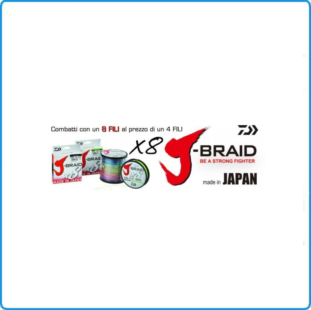 Daiwa J-Braid 8 Braid - Filo da Pesca Intrecciato, 300 m, Colore: Chartreuse