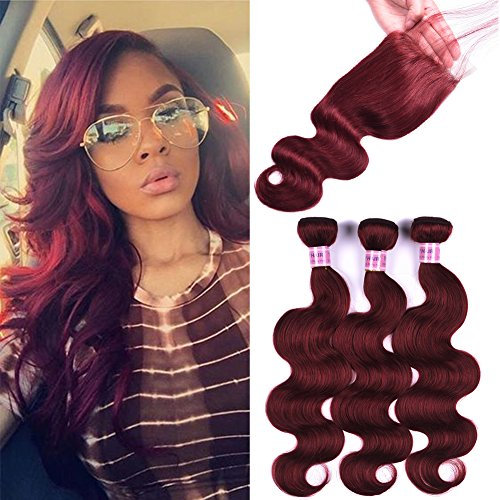 Peruvian Body Wave With Lace Closure Hair Bundles Red Wine Color #33 Burgundy Hair Weft Virgin Human Hair Weaves (12 12 14+10)