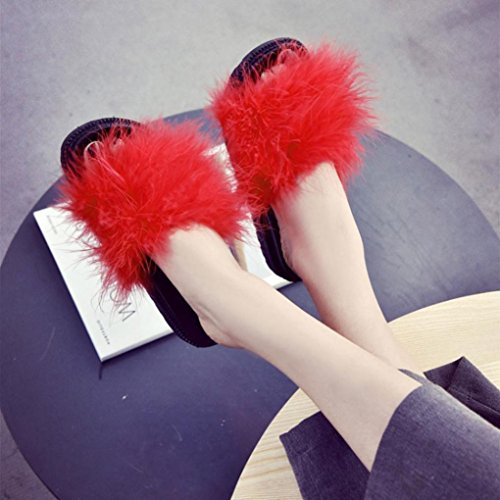 OverDose Damen Slip on Sliders Flauschige Faser Flache Pantoffel Flip Flop Sandalen Slipper Red