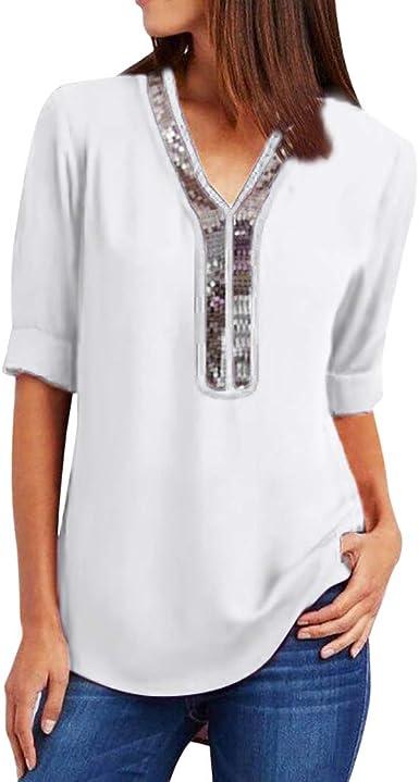 Mujer Tops de Gasa V Cuello con Cremallera Blusas Sueltas Camisas de Manga Larga Ajustable Top de Camiseta de Manga Media con Lentejuelas con Cuello de Pico para Mujer: Amazon.es: Ropa y