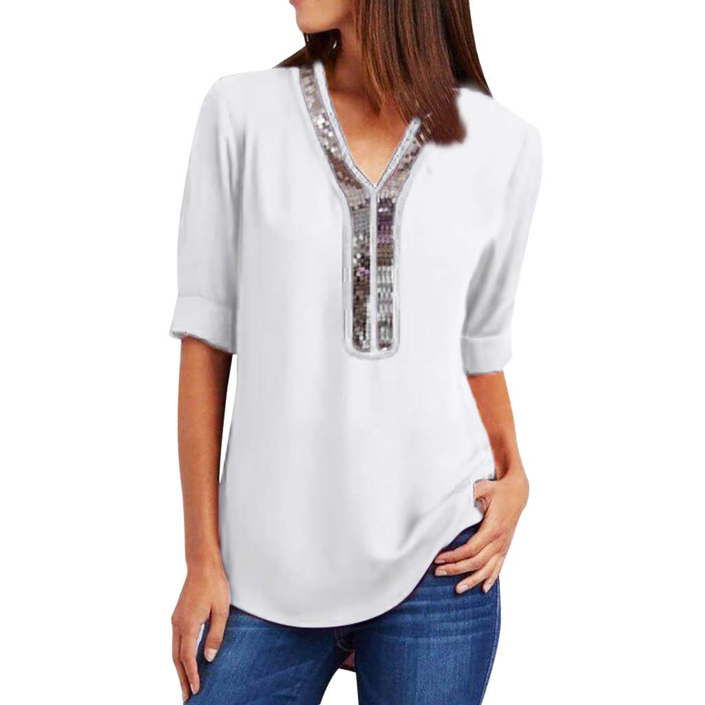 DAYPLAY Womens Tops and Blouses Plus Size V Neck Sequins Short Sleeve Tee Summer Pullover T Shirt for Ladies Clothes Sale