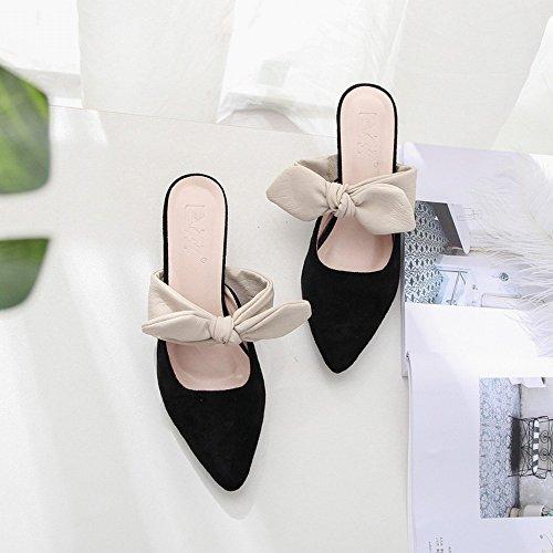 Negro de Cómodos SHOEES Tacón con Tacones Tacones de Terciopelo Zapatos Puntiagudos Altos CxnC4Tw7q