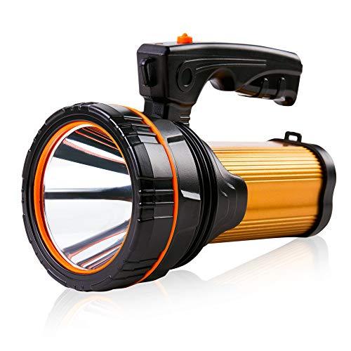 Extrem hell LED Taschenlampe Hochleistungs usb Aufladbar Handscheinwerfer 4 Akku Batteriebetrieben Wiederaufladbar Suchscheinwerfer Strahler Gross Tragbarer Flashlight Torch 1 Jahr Garantie