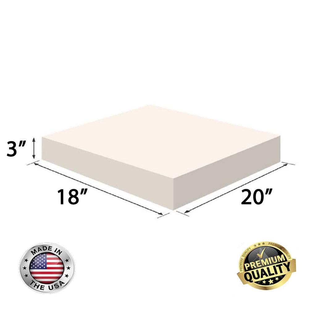 Chair Cushion Square Foam for Dinning Chairs, Wheelchair Seat Cushion Replacement FoamRush 6 x 18 x 20 Upholstery Foam High Density Firm Foam Soft Support