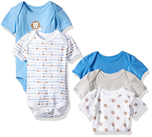 Rene Rofe Baby Boys' 5 Piece Shortsleeve Bodysuit Set, Cute Lion Blue, 3-6 Months