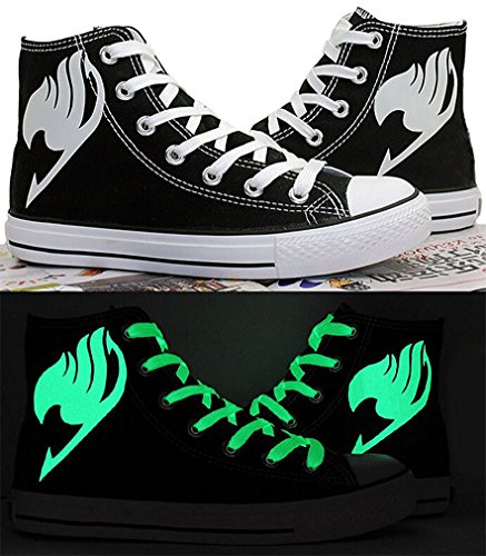 Bromeo Fairy Tail Unisexe Toile Salut-Top Sneaker Baskets Mode Chaussures Lumineux