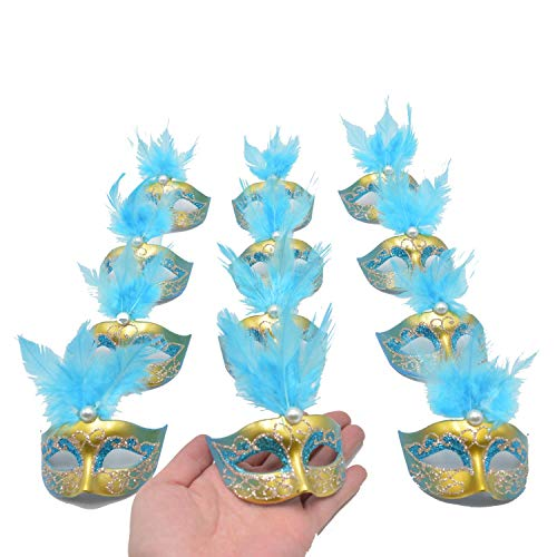 Yiseng Mini Masquerade Masks Party Decorations 12pcs Pack Luxury Feather Mardi gras Small Venetian mask Decor Party Favors