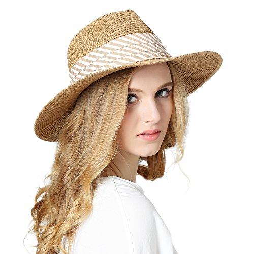 Fedora Straw Hat (Choomon Women Straw Fedora Panama Sun Hat Wide Brim Stripe Band Summer Beach Cap Khaki)