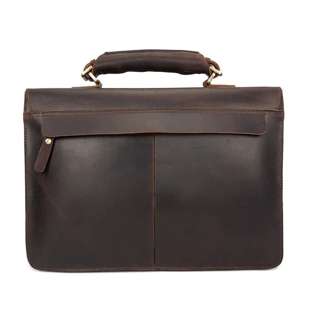 Y, Portfölj för män stor kapacitet läderhandväska flera lager vattentät laptop business axel crossbody tygväska (färg: Kaffe) Kaffe