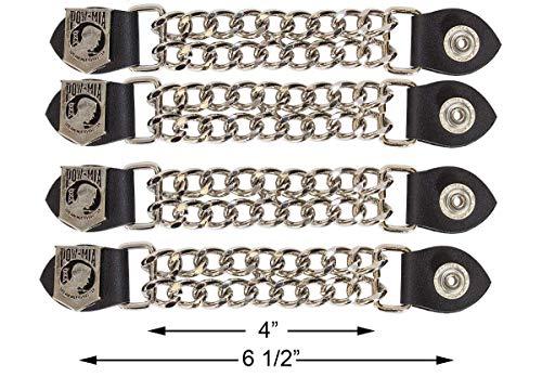 Motorcycle POW/MIA Double Button Chain Vest Extender (4 pcs per set)