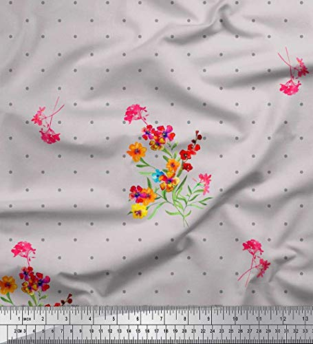 Soimoi Gray Crepe Silk Fabric Dot,Leaves & Periwinkle Floral Print Fabric by The Yard 42 Inch Wide