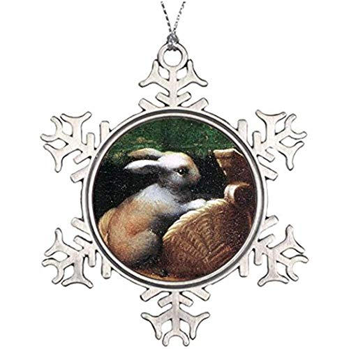 Diuangfoong Tree Branch Decoration Blessings Parmigianino 1523 Rabbit Christmas in Heaven Snowflake Ornament