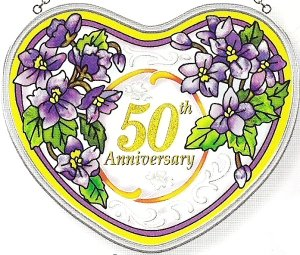 Anniversary Heart Vase - Amia Heart Shaped Handpainted Glass 50th Anniversary Floral Suncatcher, 5-Inch by 4-1/2-Inch