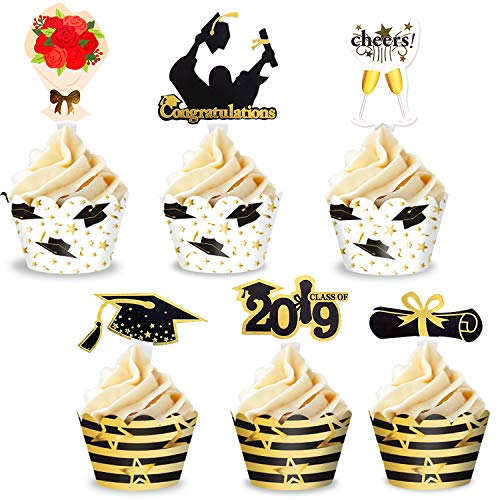 48pcs 24 Sets Graduation Cupcake Toppers and Wrapper 2019 Glitter Cake Decorations Black and Gold for Senior, High School, College Graduation Party Supplies -