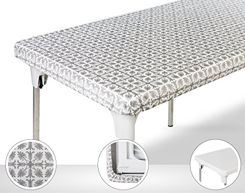 TopTableCloth Table Cover Silver Patterned Elastic on the corner for folding table 6ft (30'' x 72'') Waterproof Elastic Edge Fitted Stay put Table Cloth for Travel, Christmas, Picnics, Parties & Outdoor by TopTableCloth