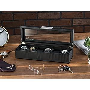 Glenor Co Watch Box for Men – 6 Slot Luxury Carbon Fiber Design Mens Display Case, Large Holder,Metal Buckle -Black