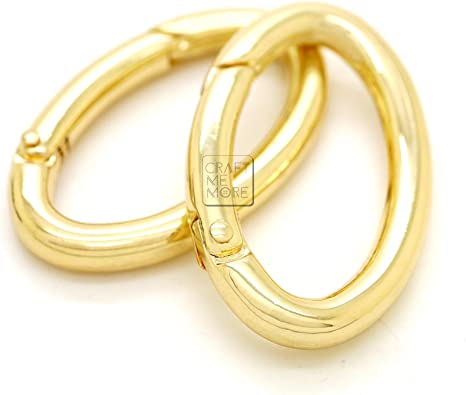 CRAFTMEmore 2PCS 1 1//2 x 3//4 Inches Oval Ring Spring Opening Purse Making Hardware Snap Trigger Clip Brushed Brass