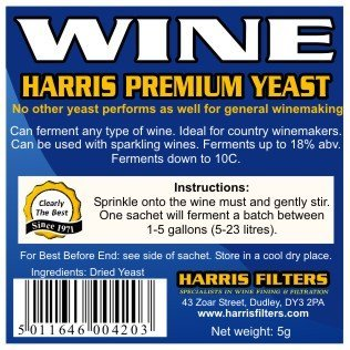 Harris - Levadura para hacer vino en casa (5 unidades): Amazon.es: Jardín