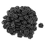 Cord Lock - SODIAL(R) Dual Holes Cord Lock Stopper Toggles Spring Fastener 100 Pcs Black
