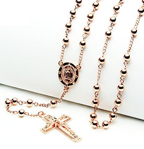 Hip Hop Rosary 6mm Rose Gold Bead Guadalupe & Jesus Cross 28