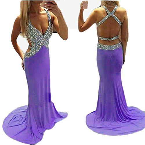 Mermaid Neck V Beading Deep Backless Women's Dresses Evening Purple Chupeng Satin tSxn0IFwq