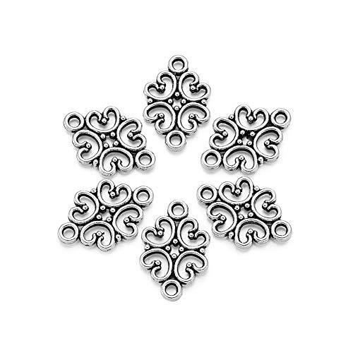 Beadthoven 50pcs Antique Silver Hollow Flower Connectors Alloy Tibetan Style Filigree Flower Link Charms for Making Bracelets Necklaces Dangling Earrings Lead Free & Cadmium Free & Nickel Free,18x13mm - Filigree Flower Charm