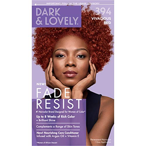 Amazon Com Softsheen Carson Dark And Lovely Fade Resist Rich Conditioning Hair Color Permanent Hair Color Up To 100 Gray Coverage Brilliant Shine With Argan Oil And Vitamin E Vivacious Red Beauty