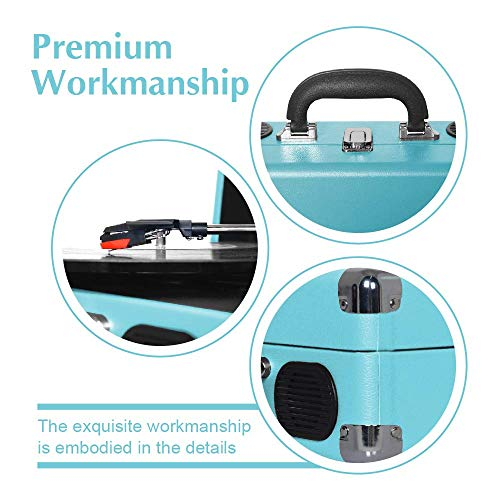 LP&No.1 Portable Suitcase Turntable with Stereo Speaker,3 Speeds Belt-Drive Vinyl Record Player Blue