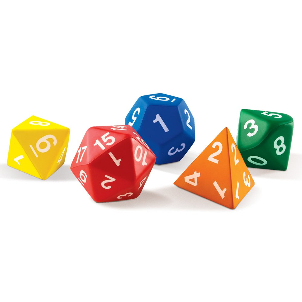 Learning Resources Jumbo Foam Polyhedral Dice, 5 Dice, 4, 8, 10, 20 Sides, Ages 5+ by Learning Resources