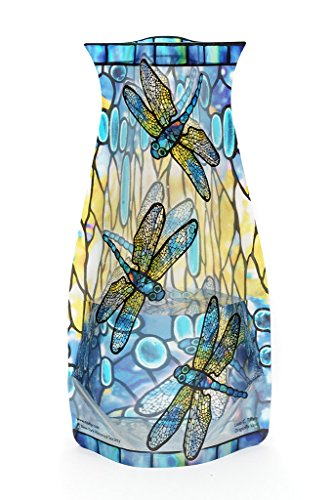 Modgy Collapsible & Expandable Louis C. Tiffany Plastic Vase, Durable, Safe, NOT GLASS, Great for Parties, Pools, Patios, Weddings and Celebrations of All Kinds (Dragonfly) Dragon Vase