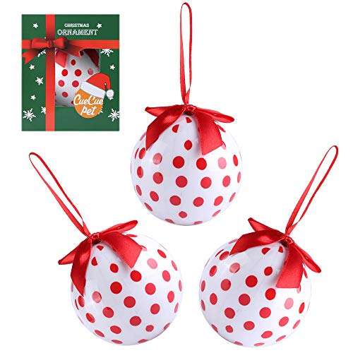 CueCue Pet Classic Christmas Winter Themed Decoration Shatterproof Memorial Ball with Top Bow-White with Red Polka Dots (3 Piece) Holiday Ornament, One Size, Multi-Colored