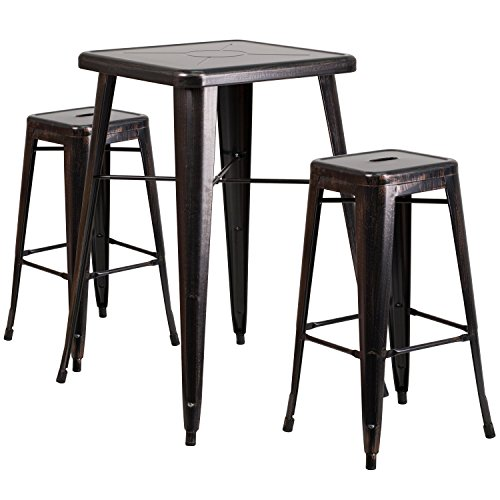 Flash Furniture 23.75'' Square Black-Antique Gold Metal Indoor-Outdoor Bar Table Set with 2 Square Seat Backless Stools by Flash Furniture