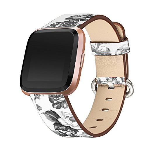 bayite Leather Bands Compatible Fitbit Versa, Slim Wristband Replacement Accessories Fitness Classic Straps Women, White/Gray Flower