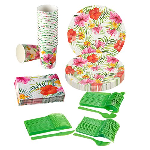 Hawaiian Luau Party Supplies – Serves 24 – Includes Plates, Knives, Spoons, Forks, Cups and Napkins Perfect for Birthdays and Summer Luau