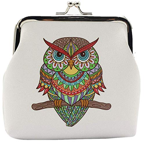 Coin Purse, Mikey Store Women Lady Retro Vintage Owl Small Wallet Hasp Purse Clutch Bag (White-2)