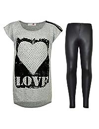 Kids Girls LOVE Printed Top & Stylish Fashion Wetlook Legging Set Age 7-13 Years