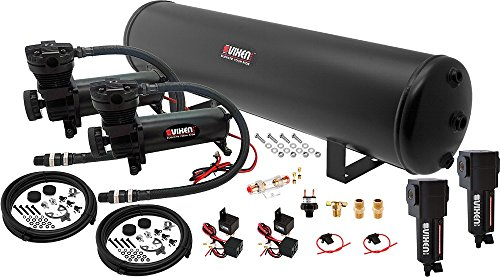 Vixen Air Suspension Kit for Truck/Car Bag/Air Ride/Spring. On Board System- Dual 200psi Compressor, 5 Gallon Tank. for Boat Lift,Towing,Lowering,Load Leveling,Bags,Onboard Train Horn VXO4852DBF (Air Bag Lowering Kits For Chevy Trucks)