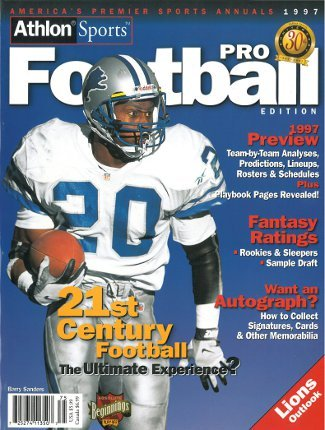 Barry Sanders Pro Football (Athlon CTBL-012509 Barry Sanders Unsigned Detroit Lions Sports 1997 NFL Pro Football Preview Magazine)