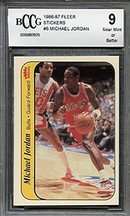 9ffd20e90c3 1986-87 fleer stickers  8 MICHAEL JORDAN chicago bulls rookie card BGS BCCG  9