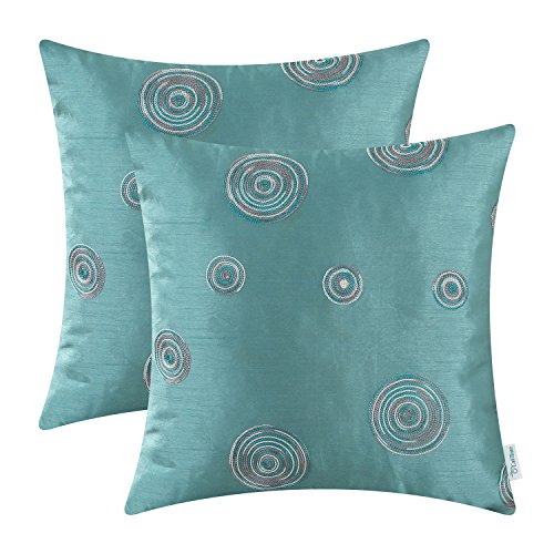 CaliTime Pack of 2 Cushion Covers Throw Pillow Cases Shells for Sofa Couch Home Decoration 18 X 18 Inches Modern Random Circles Rings Geometric Chain Embroidered -