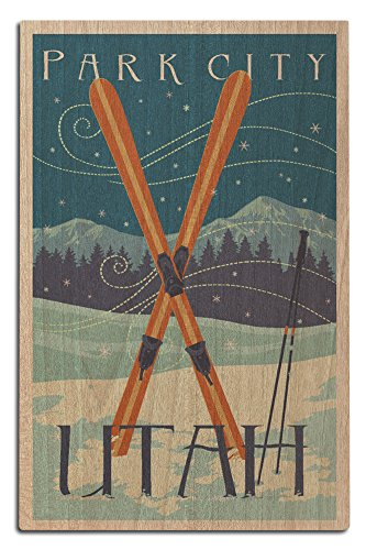 Utah - Crossed Skis - Letterpress (12x18 Wood Wall Sign, Wall Decor Ready to (Water Ski Wood Sign)