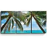 wall26 3 Piece Canvas Print - Contemporary Art, Modern Wall Art - Tropical Beach Palm Trees Paradise - Giclee Artwork…