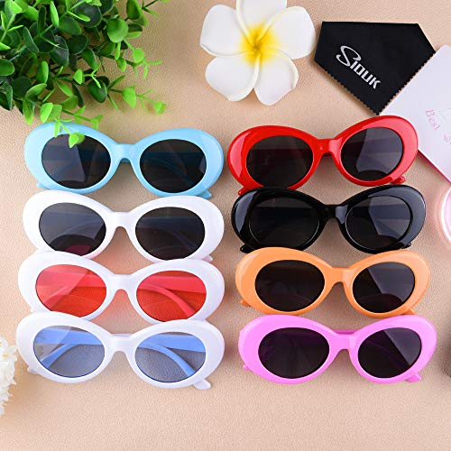 7b307f4339b SIQUK 8 Pairs Clout Oval Goggles Thick Frame Round Lens Sunglasses Retro  Kurt Mod Goggles(