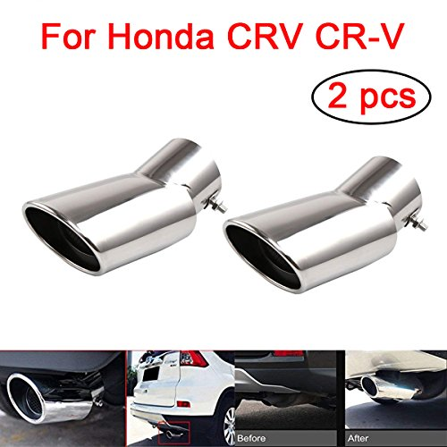 Triclicks 2Pcs Silver Car Exhaust Muffler Tail Pipe Tip Tailpipe for Honda CRV CR-V 2017