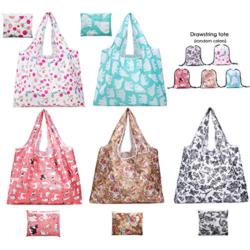 Reusable Shopping Bags,5 Pack Foldable Grocery Bags,Extra Large Reusable Grocery Tote Bags With Pouch Attached, Ripstop Polyester, Washable Lightweight