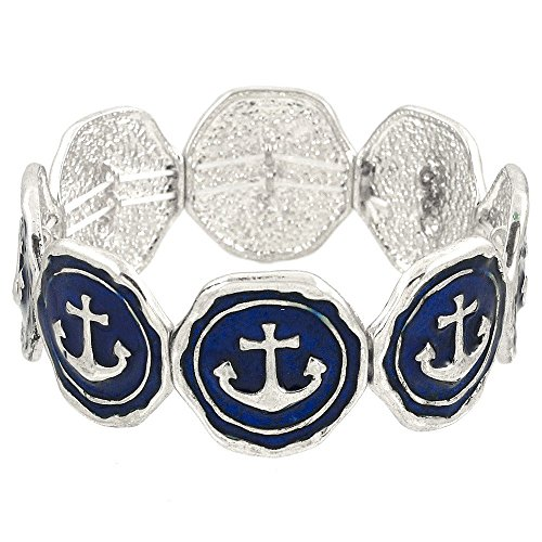 Navy Blue & White Coastal Anchor Nautical Charm Stretch Bracelet Brighton - Stretch Bangle Bracelet Design