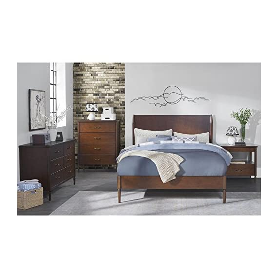 Dorel Living Brook Lane Queen Bed, Walnut - Crafted with a sturdy wood frame in a walnut finish Features a full panel headboard with matching wooden side rails, and support slats Midcentury modern design - bedroom-furniture, bedroom, bed-frames - 51X2QuqLBGL. SS570  -