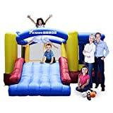 Toys : [Upgrade Version] PicassoTiles KC102 12x10 Foot Inflatable Bouncer Jumping Bouncing House, Jump Slide, Dunk Playhouse w/ Basketball Rim, 4 Sports Balls, Full Size Entry, Extended Slider, 525W Blower
