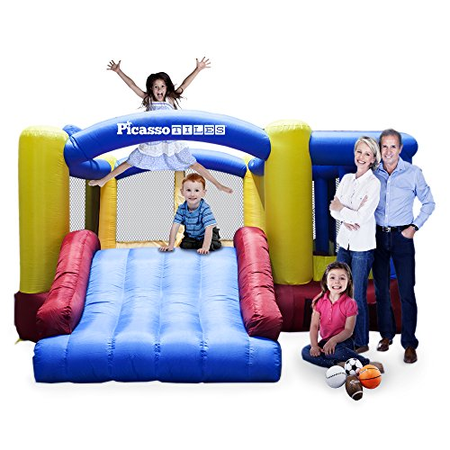 - PicassoTiles [Upgrade Version] KC102 12x10 Foot Inflatable Bouncer Jumping Bouncing House, Jump Slide, Dunk Playhouse w/ Basketball Rim, 4 Sports Balls, Full-Size Entry, 580W ETL Certified Blower